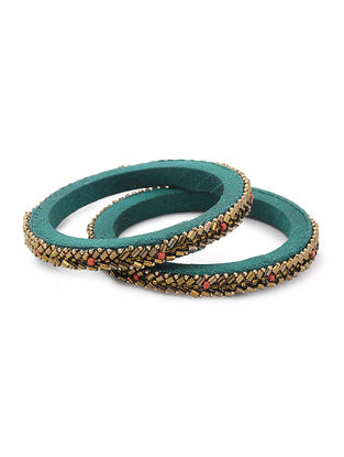 Green Zardozi-embroidered Raw Silk Bangles (Set of 2)