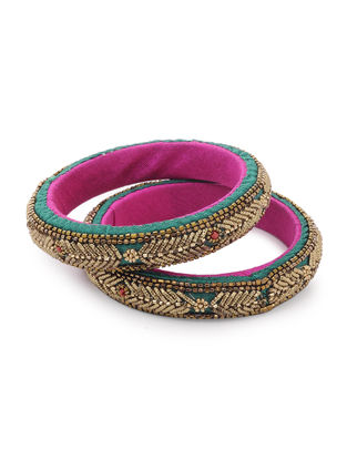 Green-Pink Zardozi-embroidered Raw Silk Bangles (Set of 2)