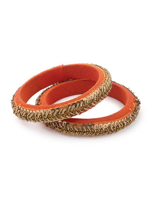 Orange Zardozi-embroidered Raw Silk Bangles (Set of 2)