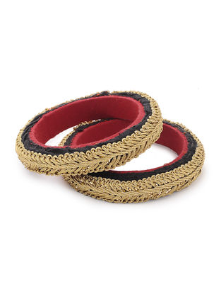 Black-Red Zardozi-embroidered Raw Silk Bangles (Set of 2)