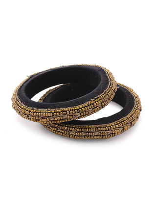 Black Zardozi-embroidered Raw Silk Bangles (Set of 2)