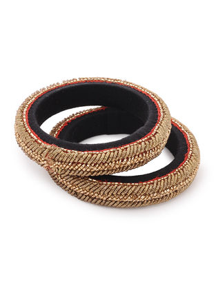 Black Zardozi-embroidered Raw Silk Bangles (Set of 2) (Bangle Size -2/4)