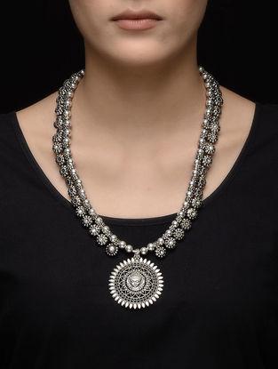 Classic Beaded Kolhapuri Brass Necklace with Goddess Durga Design