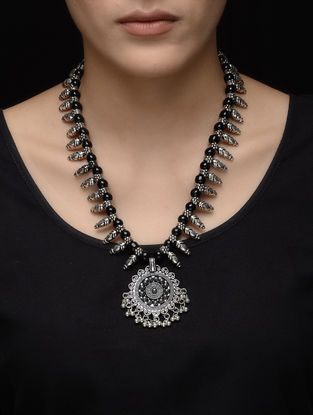 Black Beaded Kolhapuri Brass Necklace