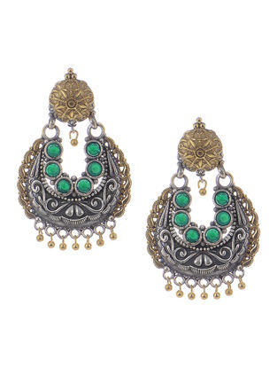 Green Dual Tone Earrings