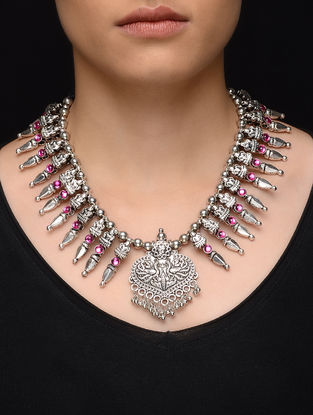 Pink Kolhapuri Beaded Necklace with Peacock Motif
