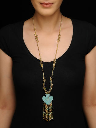 Blue Brass Necklace with Patina Finish