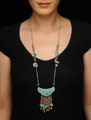 Brown Brass Beaded Necklace with Patina Finish