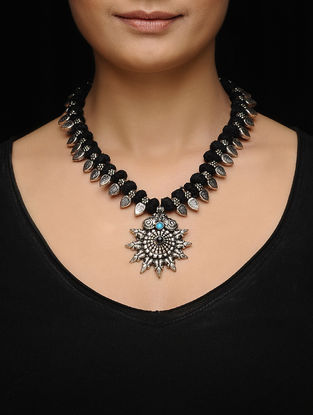 Black Thread Kolhapuri Beaded Necklace