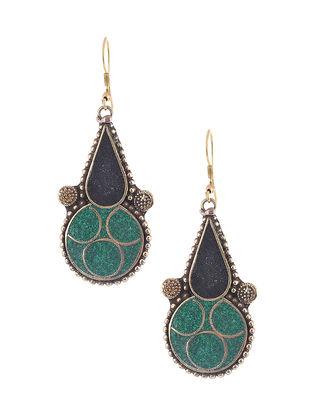Blue-Black Brass and Resin Earrings