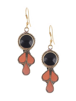 Peach-Black Brass and Resin Earrings
