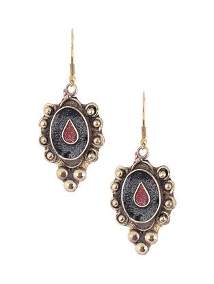 Black-Red Brass and Resin Earrings