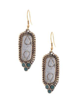 Blue Brass and Resin Earrings