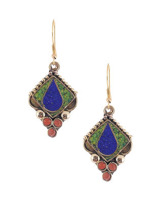 Green-Blue Brass and Resin Earrings