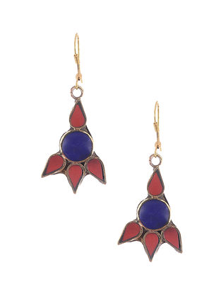 Blue-Red Brass and Resin Earrings