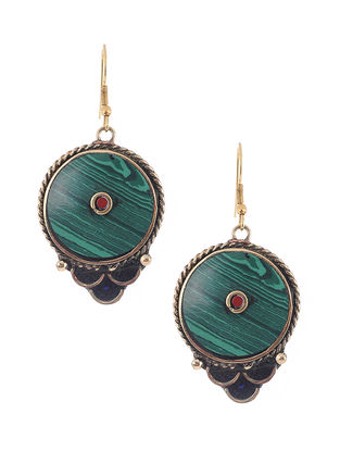 Turquoise-Black Brass and Resin Earrings