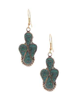 Turquoise Brass and Resin Earrings