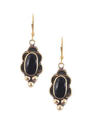 Black Brass and Resin Earrings