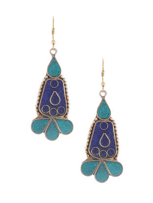 Blue-Turquoise Brass and Resin Earrings