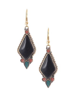 Black-Blue Brass and Resin Earrings