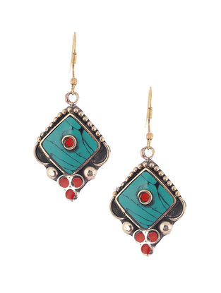 Turquoise-Red Brass and Resin Earrings