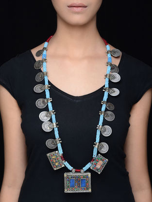 Turquoise Silver Tone Tribal Coin Necklace
