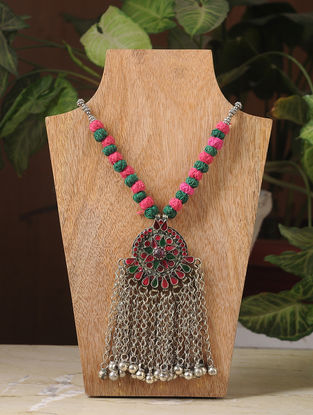 Pink-Green Silver Tone Tribal Necklace