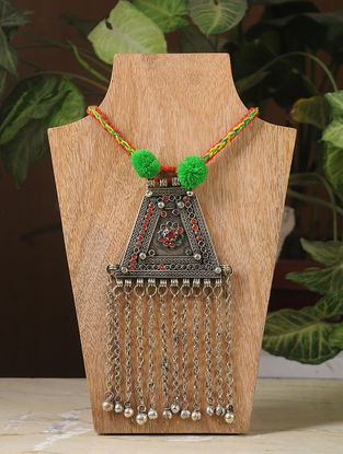 Red-Green Thread Silver Tone Tribal Necklace