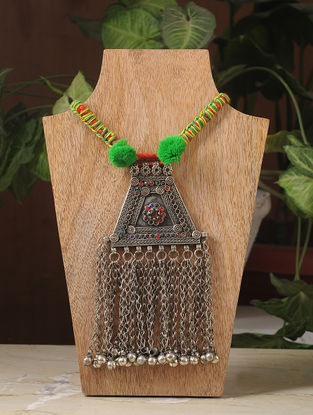 Green-Red Silver Tone Tribal Necklace