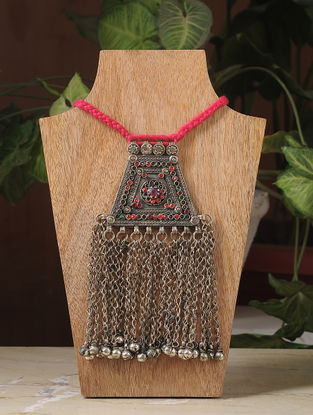 Pink Thread Silver Tone Tribal Necklace