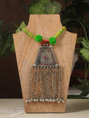 Green-Yellow Thread Silver Tone Tribal Necklace