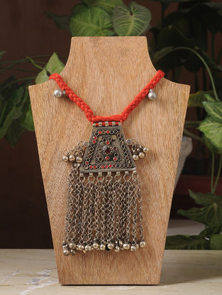 Red Thread Silver Tone Tribal Necklace