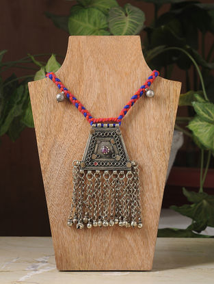 Red-Blue Thread Silver Tone Tribal Necklace