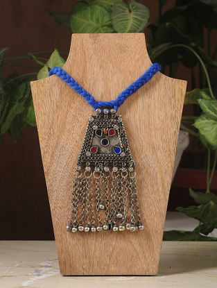 Blue Thread Silver Tone Tribal Necklace