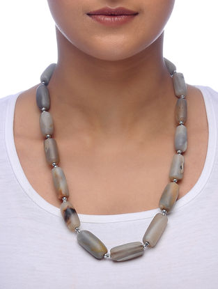 Beige Agate Beaded Necklace