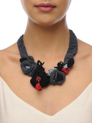 Grey-Black Handcrafted Crochet Necklace