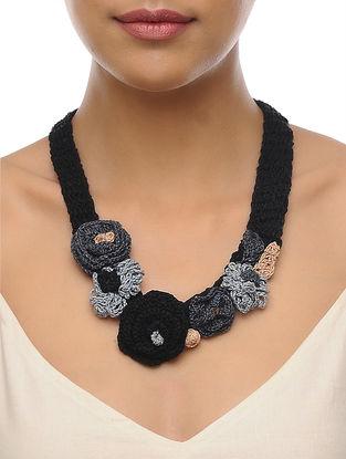 Black-Grey Handcrafted Crochet Necklace
