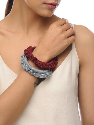 Grey-Maroon Handcrafted Crochet Bangle(Set Of 2)