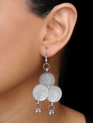 Classic Silver Tone Coin Earrings