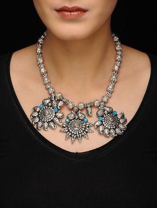 Turquoise Silver Tone Kolhapuri Beaded Necklace