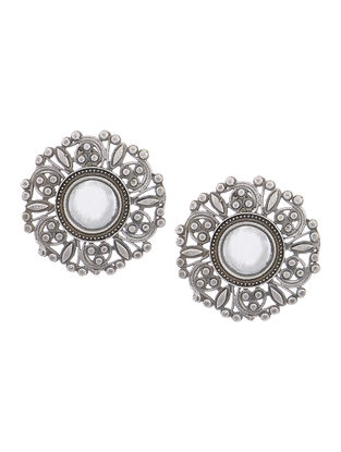 Classic Silver Tone Copper Mirror Earrings