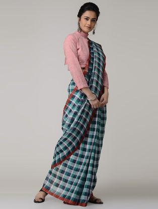 Blue-Green Checkered Linen Saree