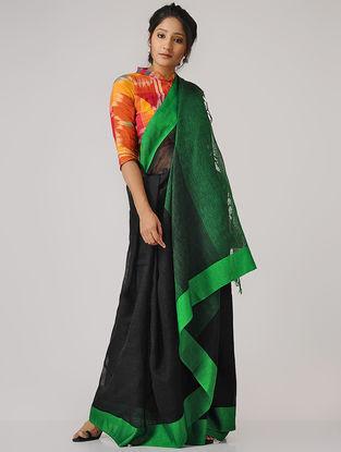 Green-Black Linen Saree