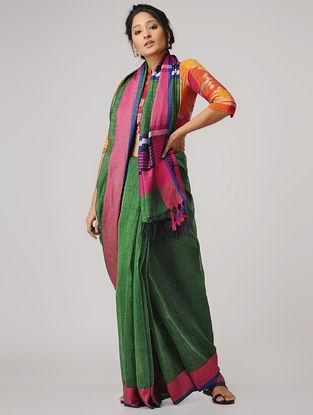 Green-Pink Linen Saree