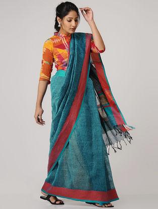 Blue-Red Linen Saree