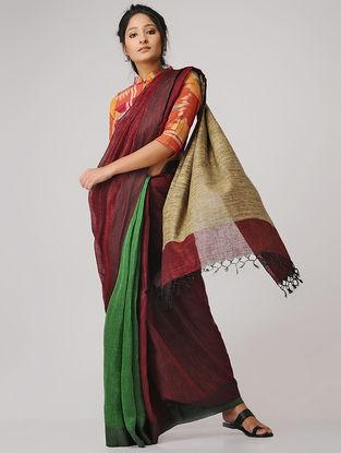 Maroon-Green Linen Saree