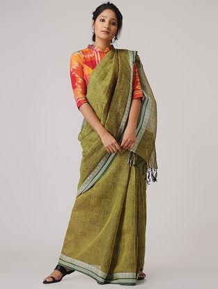 Green-Ivory Linen Saree