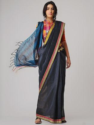 Black-Blue Linen Saree