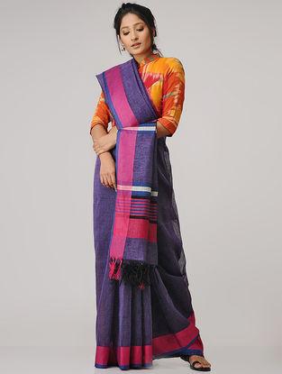 Purple-Pink Linen Saree
