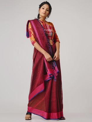 Red-Blue Linen Saree